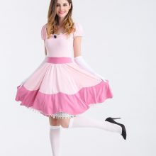 Halloween Pink Peach Princess Super Mario Costume Women For Adults Women Girl Super Mario Bros Cosplay Party Dress Sexy Cosplay