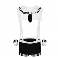 Mens Sexy Sailor Costume Cosplay Overalls Boxer Shorts Collar Cuffs Underwear Strap Gay Club Wear