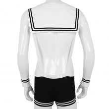 TiaoBug Mens Sexy Halloween Sailor Costume Cosplay Overalls Boxer Shorts with Collar Cuffs Underwear Set Strap Hot Gay Club Wear