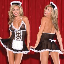 M-2XL 2018 Sexy french Maid  Women Halloween Costume Cosplay French Maid Lingerie Outfit Fancy Dress Hot SEXY LINGERIE