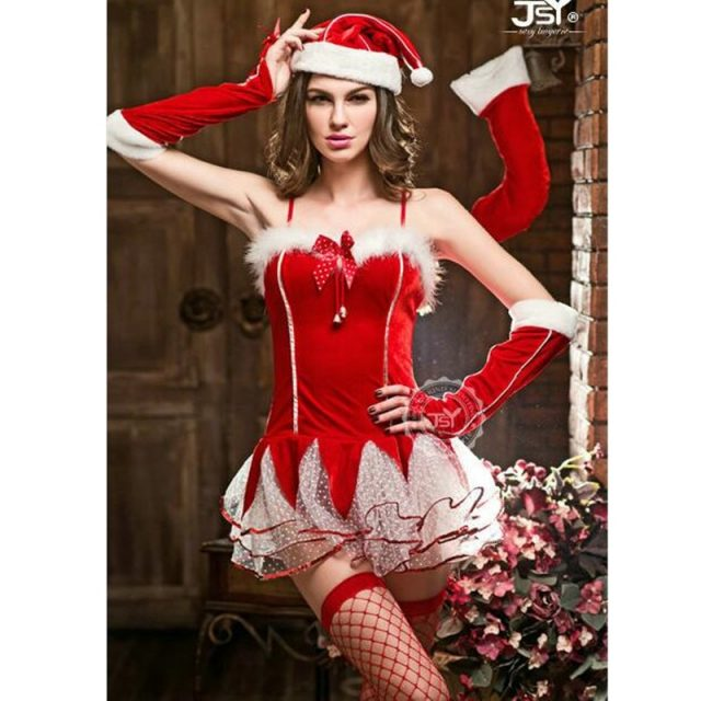 Adult Red Cute Christmas Dress Costumes Miss Santa Claus Costume For Christmas Party Dance Party Fancy Costumes 9633