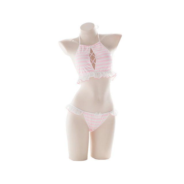 Women 2Pcs Cute & Sexy Chiffon Striped Lingerie Set Camisole Tops & Pants Set Women Pajamas PINK & BLUE