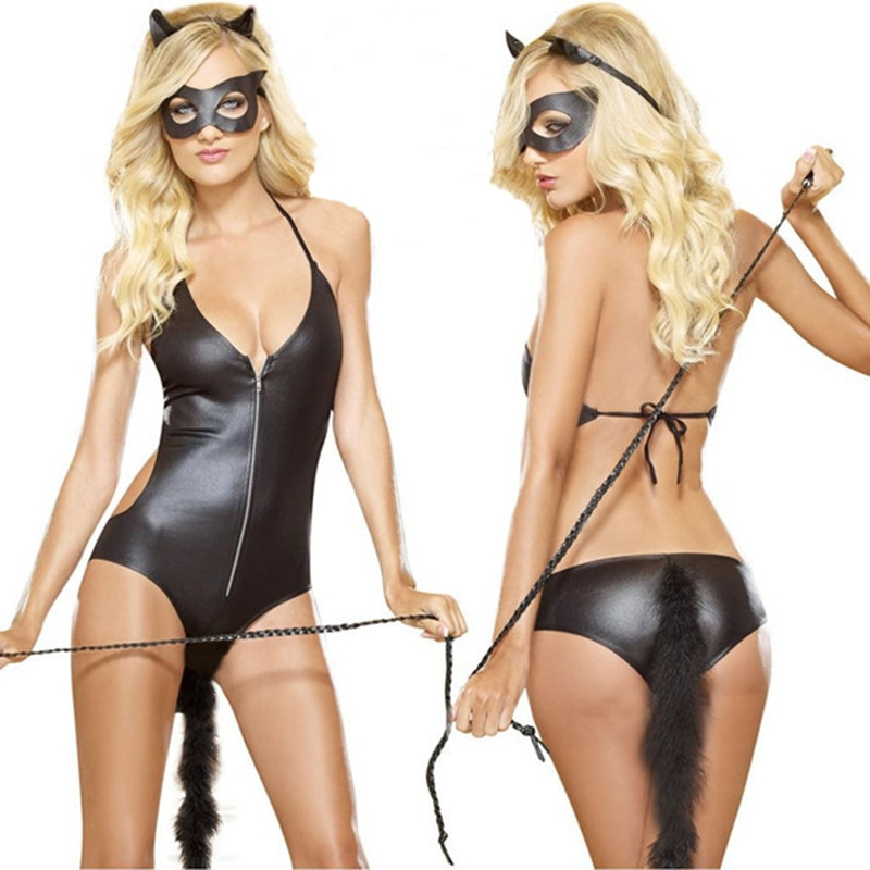 PU Leather Cat Cosplay Costume Halloween Costumes For Women Game Sexy Costume Ladies Black Sexy Lingerie Teddies Fantasia Adulto