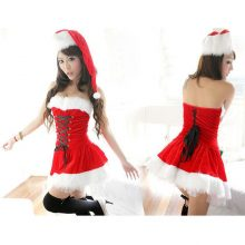 Sexy Christmas Costume Thick Velvet Santa Cosplay Suit Erotic Baby Doll Maid Uniform Christmas Party Dress Outfit For Women VL