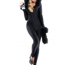 Ladies Sexy Jumpsuit Bear Catsuit Costumes Fancy Dress Halloween Outfit 4539