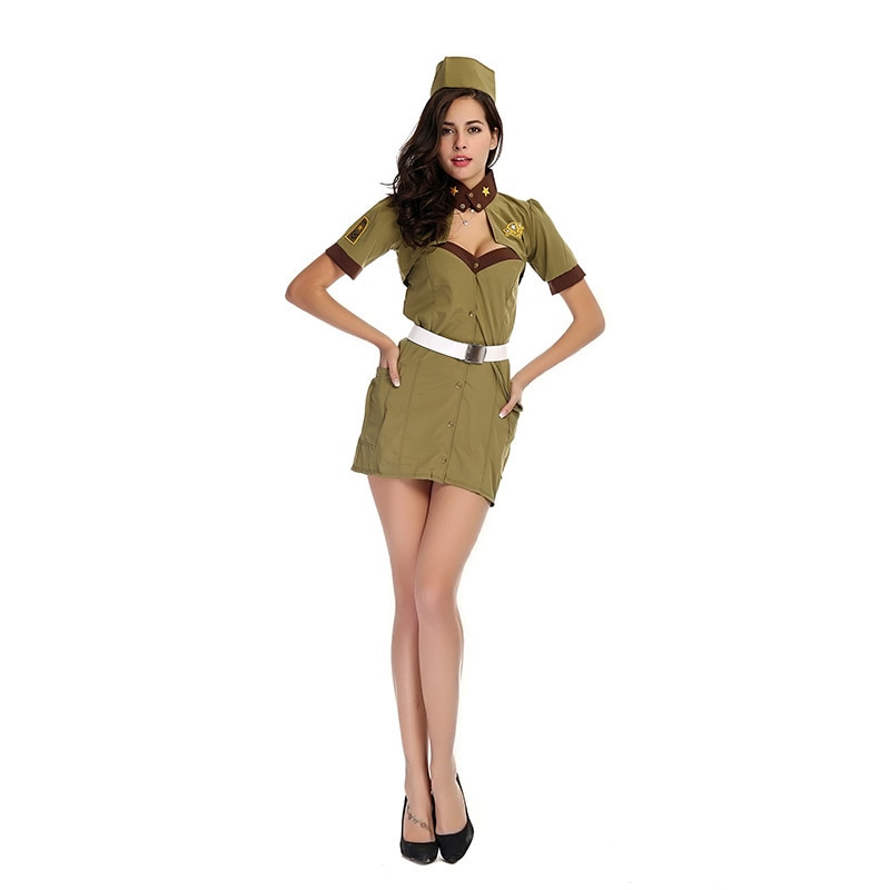 Woman Sexy Stewardess Soldier Female Militaire Army Officer Outfit Navy Sailor Flight Attendant Costume
