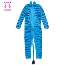 Blue Zebra Adult Na'vi Jumpsuit Costume Sexy Halloween Costumes For Women Cosplay Afanda Superhero Sci-Fi Movie Carnival Costume