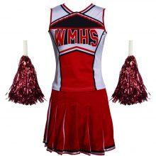 Free Shipping  Hot Selling Ladies Costume Fancy Dress Up Red Cheerleader glee  school girl costume top+skirt s-3xl