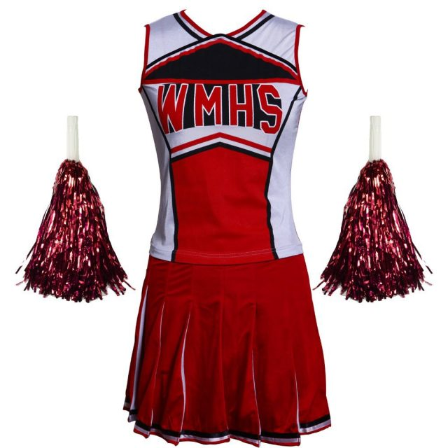 Free Shipping  Hot Selling Ladies Costume Fancy Dress Up Red Cheerleader glee  school girl costume top+skirt s-3xl