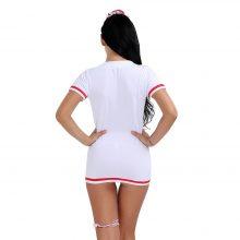 4PCS Women Lingerie Set Zipper Nurse Babydoll with Hair Hoop G-string Leg Loop Cosplay Halloween Costume Nightwear Evening Party
