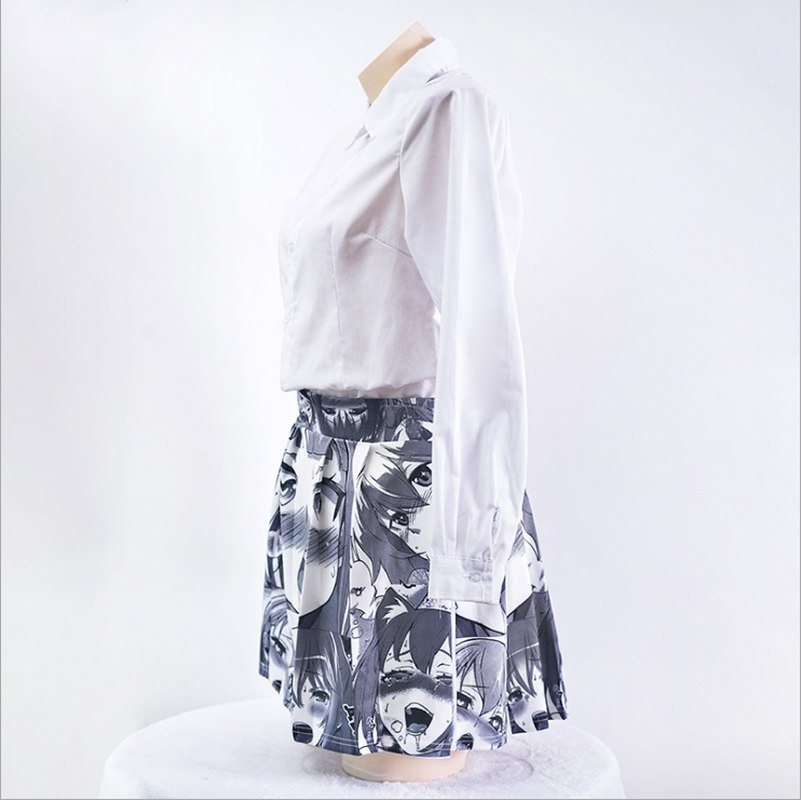 Ahegao Shirt Funny Japanese style pleated skirts Harajuku 3D Print Funny Cotton Short Skirt Anime anime cosplay women Skirts