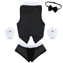 Hot Mens Maid Role Play Costume Erotic Sexy Halloween Outfits Tops Boxer Briefs Underwear with Collar Handcuffs Lingerie Set