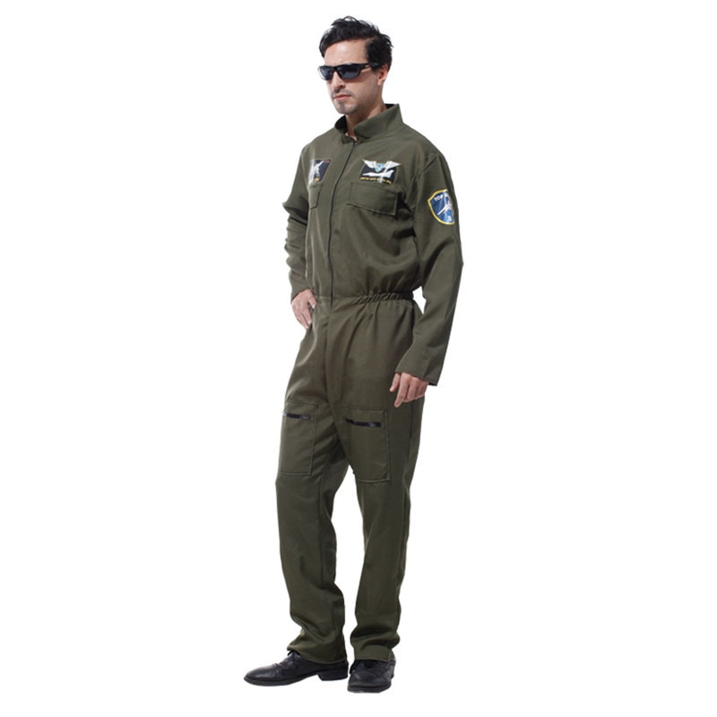 Mens Pilot Aviator Top Gun Paratrooper Flight Suit Halloween Policeman Special Forces Costumes Easter Carnival Party Jumpsuit
