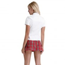3Pcs Women Adult Cosplay Costume School Student Uniform Suit White Shirt with Red Pleated Skirt Sweetie Sexy Costumes for Frame