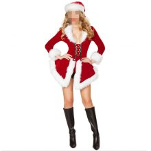 New Christmas Costumes For Women Red long sleeve Fur Velvet Santa Claus Xmas Outfit Sexy Christmas Fancy Dress with hat