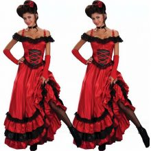 New Wholesale Sexy Red Dance Dress Ladies Sexy Saloon Girl Wild West Burlesque Costume Fancy Tango Stage Performance Dress