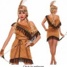 S-2XL Tassels Indian queen costumes,Indian Costume Womens Pocahontas Native American Indian Wild West Fancy Dress Party Costume