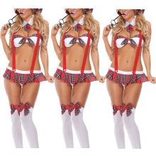 2018 New Women Naughty Lingerie 3pcs/Set Nithewear Sleepwear Dress England School Girl Costume Fancy Bodydolls Uniform Outfit