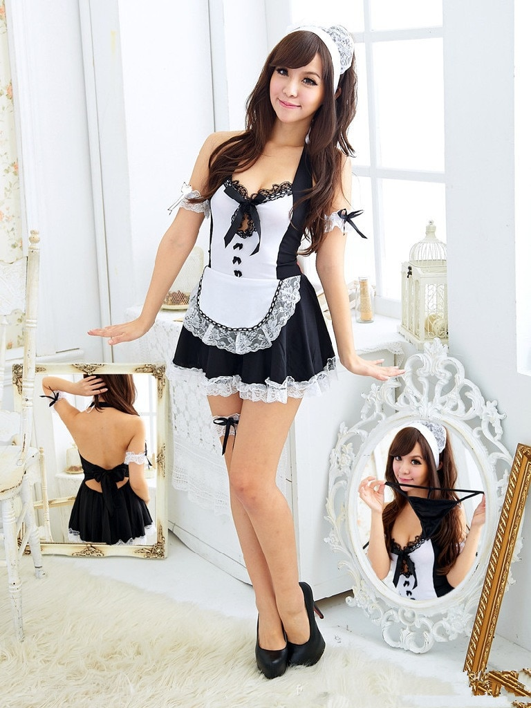 2018 Sexy Apron Maid Outfit Sexy Lingerie Role-playing Game Suit Cafe Waitress Clothes Uniform