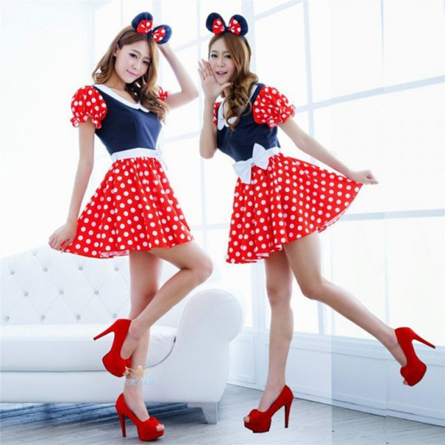 Adult Women Sexy Red White Polka Dot Sweet Minnie Mouse Fancy Dress Halloween Cosplay Costume O-neck Mini Dress Headband