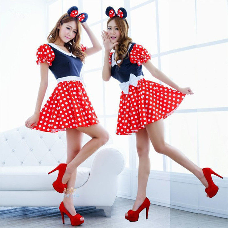 Adult Women Sexy Red White Polka Dot Sweet Minnie Mouse Fancy Dress Halloween Cosplay Costume O-neck Mini Dress Headband