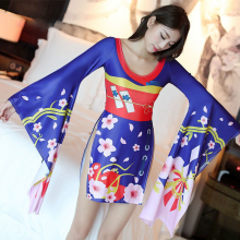 Sexy Costumes Japanese Style Kimono High Cut Printed Cherry Nightwear Ladies Lingerie