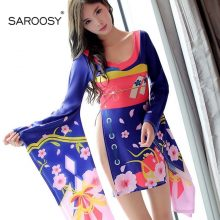 SAROOSY New Sexy Costumes Japanese Style Kimono for Women High Cut Printed Cherry Blossom Nightwear Ladies Lingerie