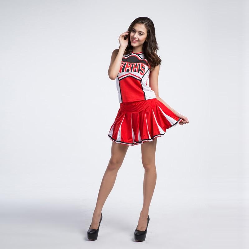 WMHS Sexy High School Cheerleader Costume Girl Baseball aerobics dance Cheer Girls DS Uniform Party Outfit Tops and Skirt
