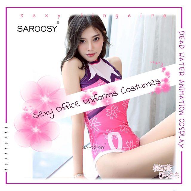SAROOSY 2018 New Japanese Sakura Kimono Sexy Costumes Open Crotch Bodysuit for Women Lolita Kawaii Style Erotic Lingerie Cosplay