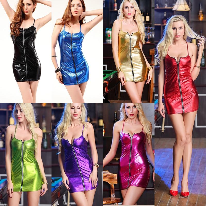 Plus Size S-4XL Women's Sexy Wetlook Latex Slip Tight Mini Dress Costume For Clubwear Stripper Party Fancy Dress