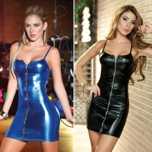 Plus Size S-4XL Women's Sexy Wetlook Latex Slip Tight Mini Dress Costume For Clubwear Stripper Party Fancy Dress