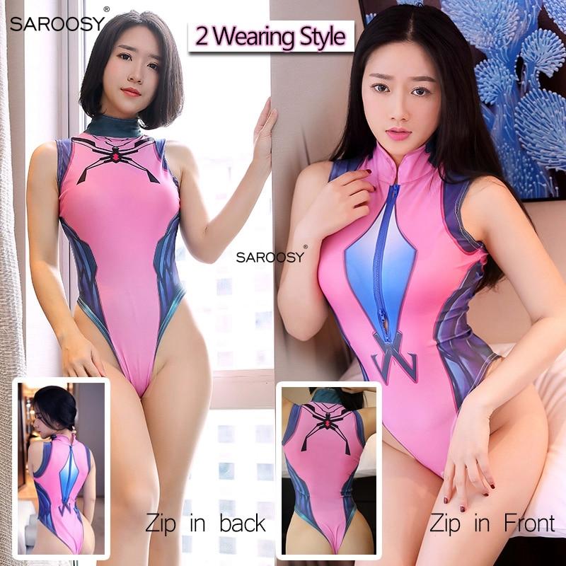 SAROOSY Sexy Costume Women Pink Kawaii Lolita School Student Uniform Open Crotch Bodysuit Reversible Wearing Erotic Lingerie