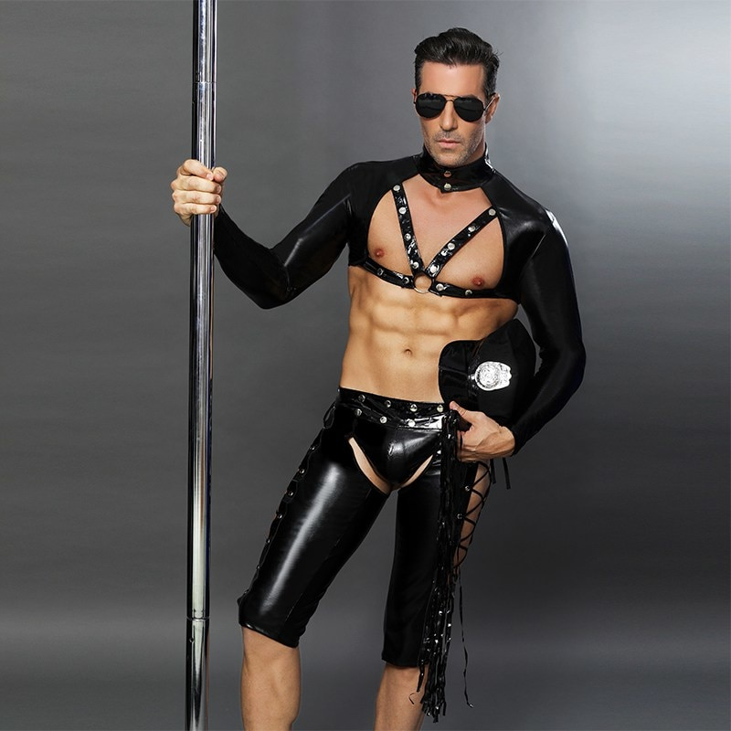 Men Sexy Costumes Hot Erotic Sexy Police Officer Cosplay Costume Fancy PVC Cops Dress Men Halloween Costume Police Uniforms 6616