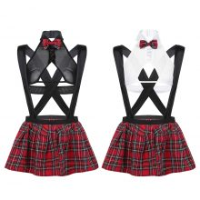 Women School Girl Sexy Costumes Lingerie See-through Outfit Nightclub Cosplay Top with Suspender Plaid Mini Skirt + G-string