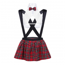 School Sexy Costumes Lingerie See-through Outfit Nightclub Cosplay Top Suspender Plaid Mini Skirt G-string