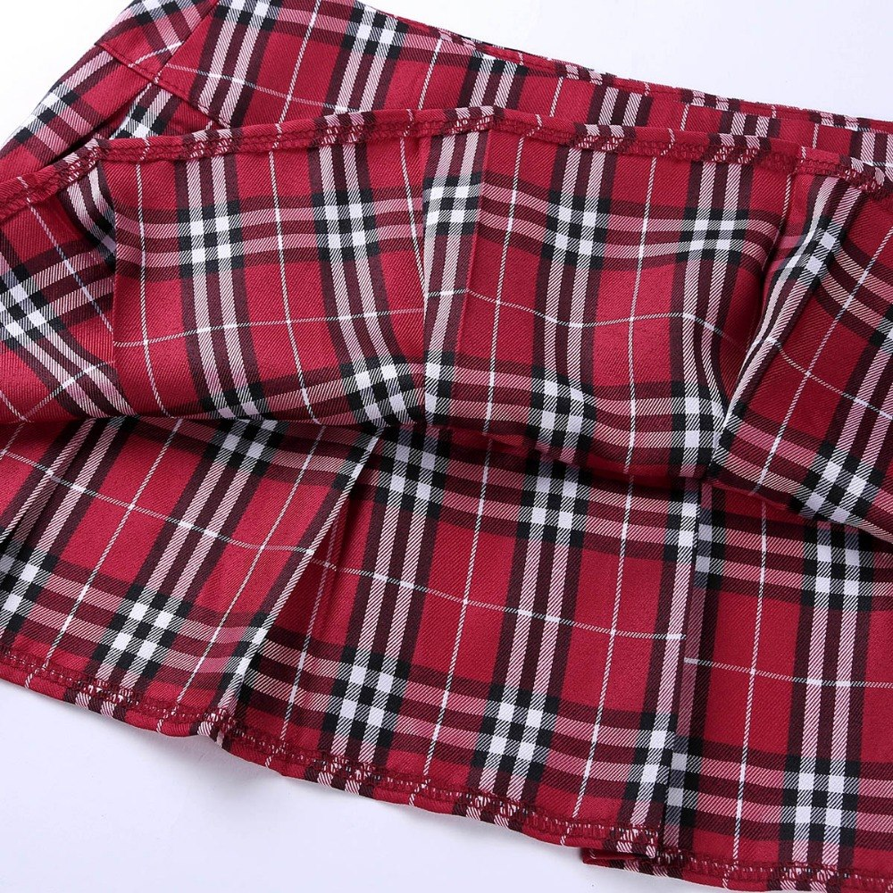 Women Schoolgirl Mini Plaid Skirt Role Play Lingerie Costumes Sexy Skirts A-Line Maxi Skirt Evening Parties