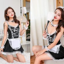 Sexy Lingerie Cosplay French Apron Maid Servant Lolita Sexy Costume Babydoll Dress Uniform Erotic Lingerie Role play Hot 2019