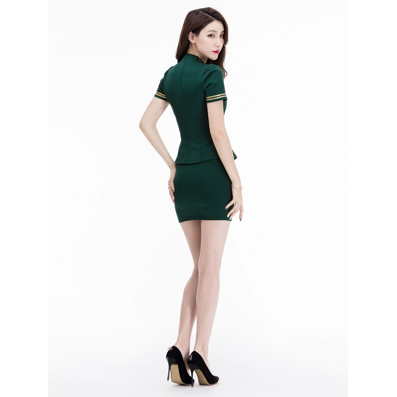 MOONIGHT3Color Sexy Cosplay Uniform Erotic Airline Stewardess Costume Halloween Party Role Play Costume Top with Slim-cut Skirt