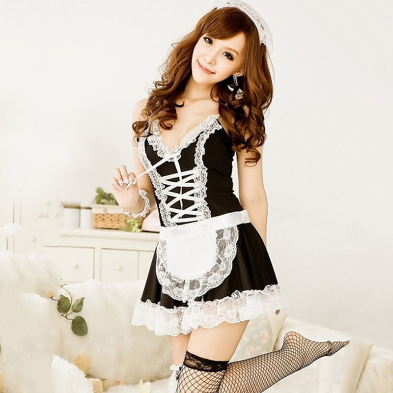 Maid Servant Lace Costume Women Set French Babydoll Dress Sexy Lingerie Black White Cosplay Lolita Erotic Uniform Apron 2019 New