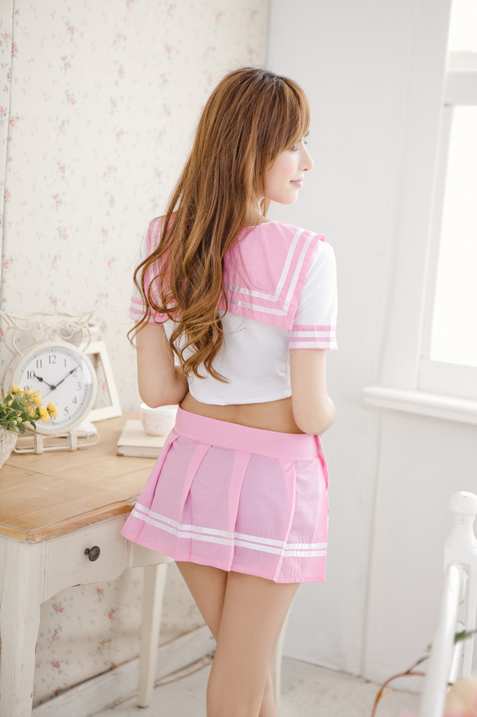 Japanese School Student Uniform Sexy Girl Cosplay Costume Pink Bow Crop Top Pleated Skirt Full Set
