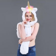 Christmas Gifts LED Unicorn Hat Costume Winter Warm Long Scarf and Gloves Set With Pockets Hat for Girls Sexy Gift 2018