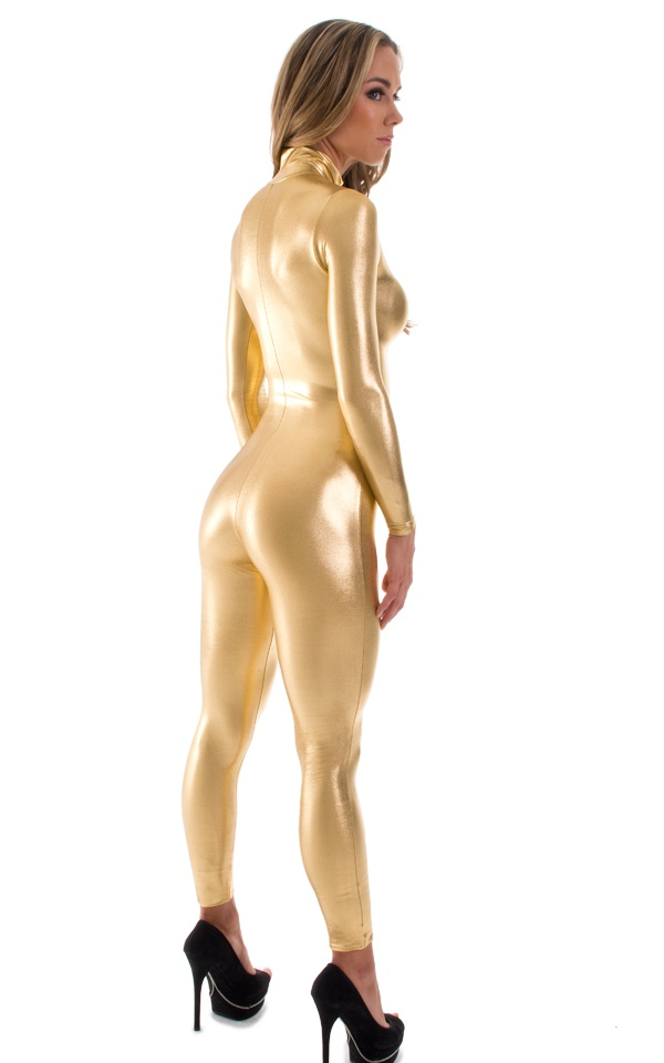 Zip Shiny Gold Spandex Catsuits Costume Metallic Bodysuits Long Sleeve Unitard Black Lycra Cat suits Full Body Catwoman Outfits