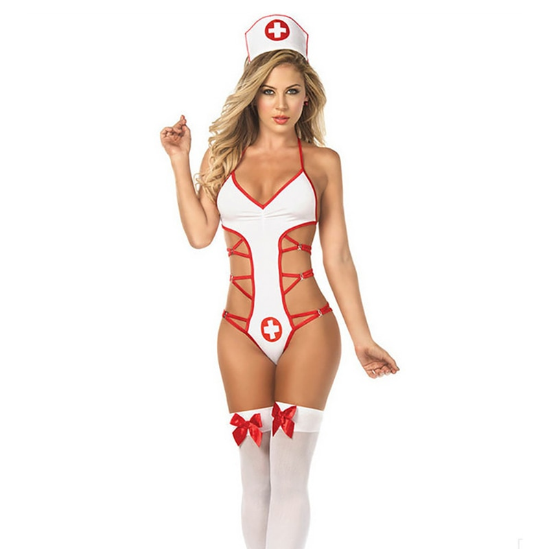 Sexy Lingerie Roleplay Fancy Bedroom Nurse Sets Costume Nurse Outfit Bodysuit Sexy Bandage Backless Costumes Fashion Clothing