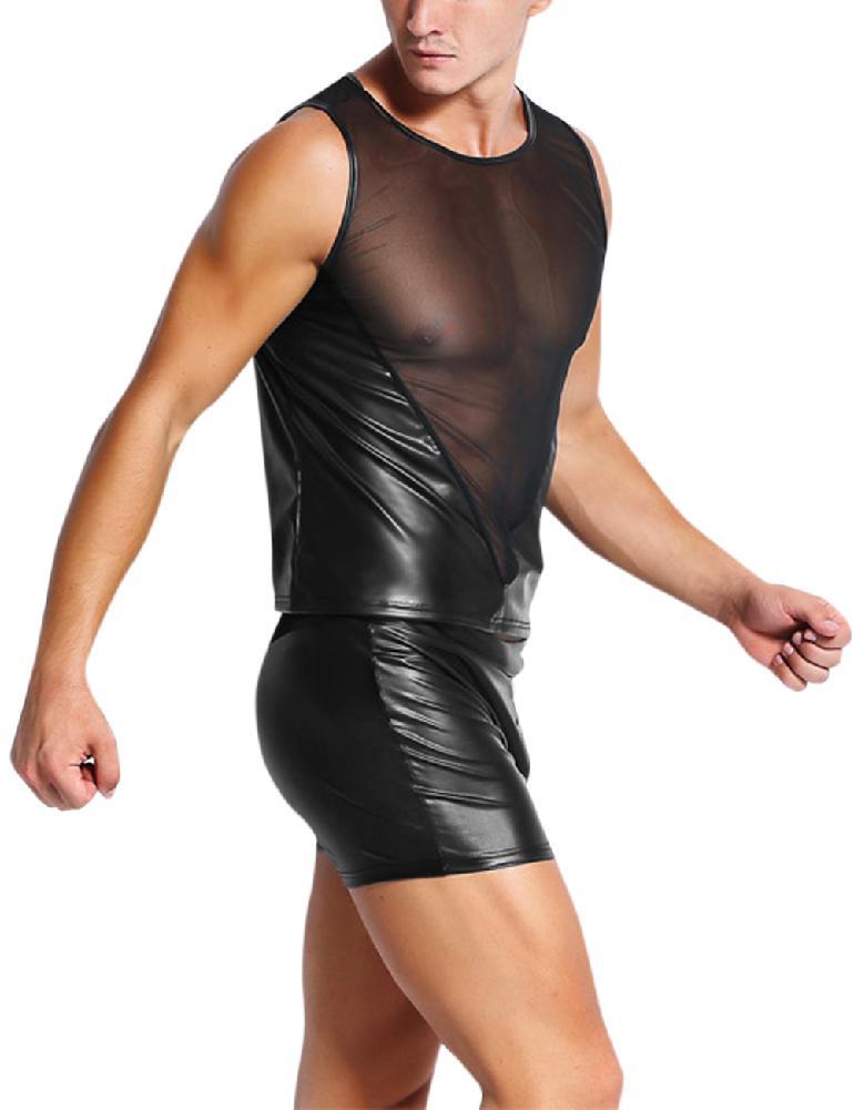 Men PU Cosplay Sexy Lingerie Stylish Leather Mesh Splicing Tights Underwear SAN0