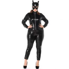 Adult Women Sexy Club Cat Women Catsuit Costume Black PVC Front Closure Jumpsuit Outfit With Mask For Ladies XXL XXXL Plus Size