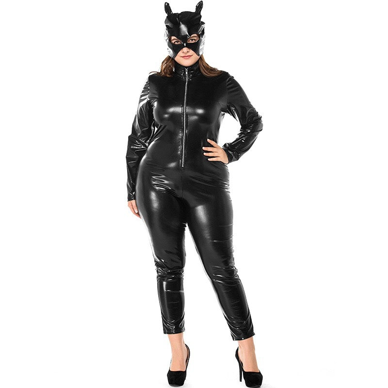 Adult Women Sexy Club Cat Women Catsuit Costume Black PVC Front Closure Jumpsuit Outfit With Mask For Ladies XXL XXXL Plus Size