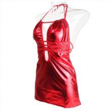 Women Lingerie Faux Leather Sex Erotic g-strings Draped Lingerie Pajama Sexy Mini Dress Club girl Costume corset bustier