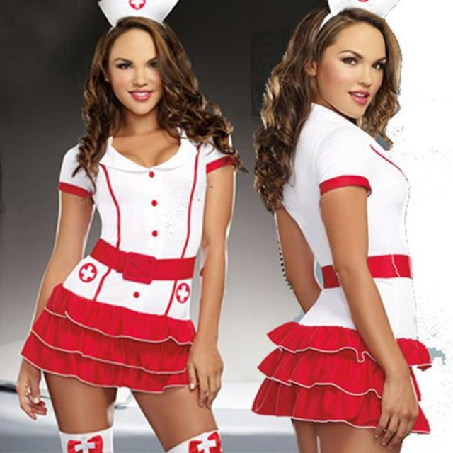 Naughty Nurse Costume For Women Nurse & Doctor Fancy Party Dress Sexy Hospital Hottie Red Nurse Uniform Outfits Cosplay