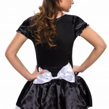 S-6XL Black Satin And White Lace Fancy Mini French Maid Dress Cosplay Sexy Maid Costume Plus Size Halloween Costumes for Women