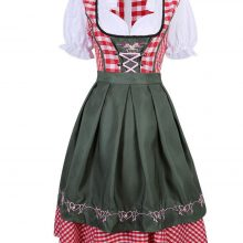 Women Oktoberfest Costume Plus Size Red Plaid German Oktoberfest Beer Girl Costume Dirndl Dress Beer Wench Biergarten Uniform